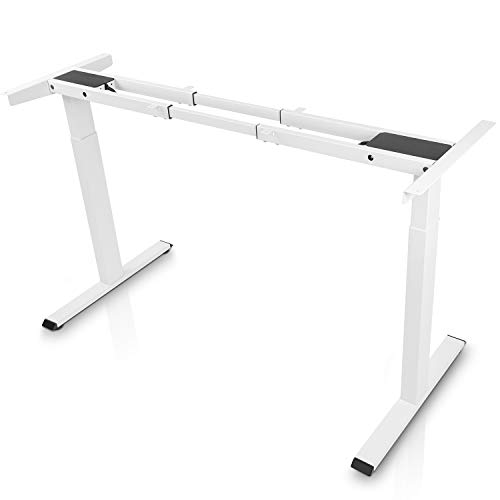 Electric Stand up Desk Frame - FEZIBO Dual Motor and Cable Management Rack Height Adjustable Sit Stand Standing Desk Base Workstation, White (Frame Only)