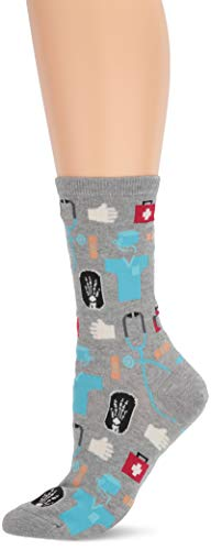 Hot Sox Women's Novelty Occupation Casual Crew Socks, Medical (Gents Heather), Shoe Size: 4-10.5