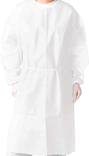(Pack of 10) Isolation Gown with Elastic Cuff -Disposable Non-Woven, Splash Resistant, one size fits all (White)
