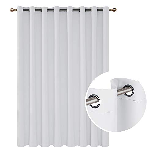 Deconovo Blackout Curtains Wide Window Curtains Room Darkening Drapes for Living Room 100 x 95 Inch Greyish White 1 Panel