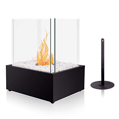 BRIAN & DANY Square Tabletop Bio Ethanol Fireplace with Fire Killer and Pebbles