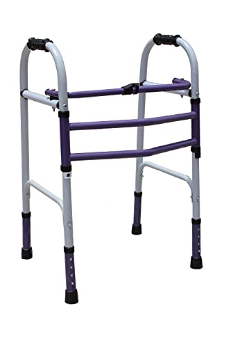 SAMADHAN SURGICAL HEIGHT ADJUSTABLE FOLDABLE PATIENTS AND ADULTS WALKING WALKER - PURPLE AND WHITE