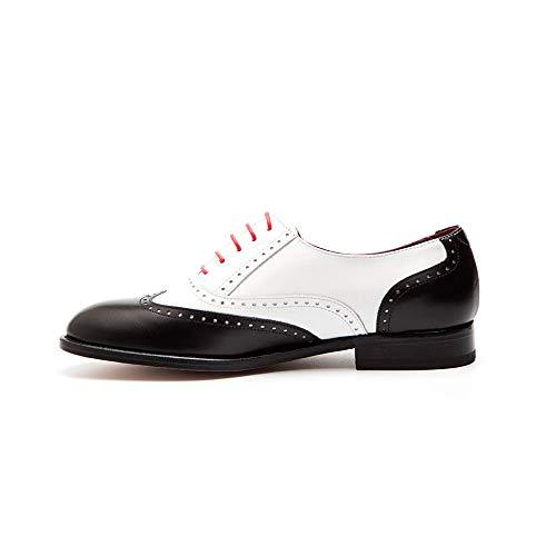 Beatnik Shoes Zapatos de Cordones Oxford de Mujer Bicolores Blanco y Negro en Piel Beatnik Lena Black & White, Talla : 36