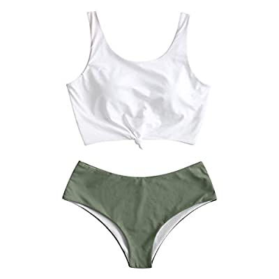 Material: Nylon,Polyester,Spandex.Soft with good elasticity, comfy to wear Features: Padded bra, wire free, high waisted,tie knot front This tankini set will not expose too much, while letting you enjoy the summer. The top can provide adequate suppor...