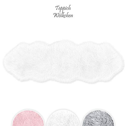 Teppich Wölkchen Lammfell-Teppich Lang Kunstfell Schaffell Imitat | Kinderzimmer Schlafzimmer Wohnzimmer | Als Matte für Stuhl Sofaoder Faux Bett-Vorleger (Weiß - 55 x 160 cm)