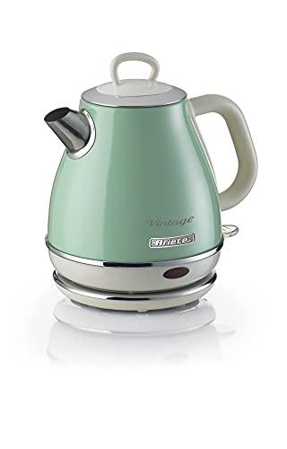 Ariete 2868 Vintage, elektrischer Design-Wasserkocher aus Edelstahl für Aufgussgetränke, Tee und Kräutertees, Abschaltautomatik, ergonomischer Griff, 1 l, 1600 W, Grün