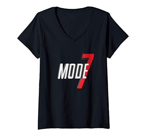 Womens Mode 7 90's 16-Bit Gamers Reto Gaming V-Neck T-Shirt