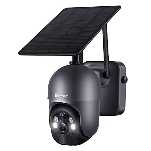 Ctronics Telecamera Wifi Esterno Batteria 15000mAh, 100% Sena Fili PTZ Telecamera Pannello Solare Pan 355°/Tilt 95° Radar PIR Doppia Modalità di Rilevazione e Audio Bidirezionale IP66 Impermeabile