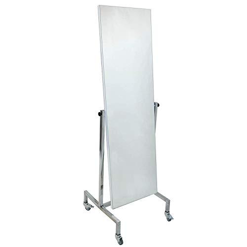 Standspiegel schwenkbar fahrbar, beidseitige Spiegelfläche 165 x 60 cm verchromtes Gestell Anprobespiegel Therapiespiegel Spiegel