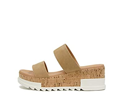 Buy from USA Sellers for Authentic Soda shoes!! Latest Fashion and Trend for Stylish, Sporty & Sexy look Slip-on style with 2 straps on top Cork platform wedge sandals Platform measures approximately 0.4""