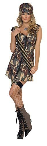 Smiffy's Smiffys-33829M Disfraz de Chica del ejército, con Vestido y Gorra, Color Camuflaje, M-EU Tamaño 40-42 33829M