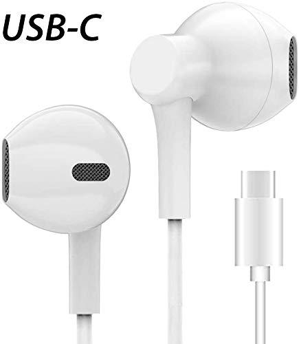 Luvfun Auricolari,Auricolari USB c Auricolari USB Tipo c Auricolari Tipo c Cuffie con Microfono e Controller in-Ear con Cancellazione del Rumore Hi-Fi Stereo 3.5 mm Compatibile con Huawei (Bianco)