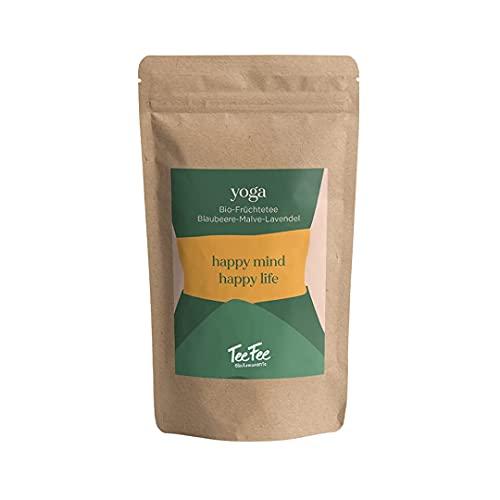 Yoga & Meditation   Bio-Früchtetee   TeeFee   Blaubeere, Malve, Lavendel   100% natürliche Zutaten & Bio Qualität   1 x 90g Grobschnitt Teemischung (koffeinfrei, für Kinder & Schwangere geeignet)