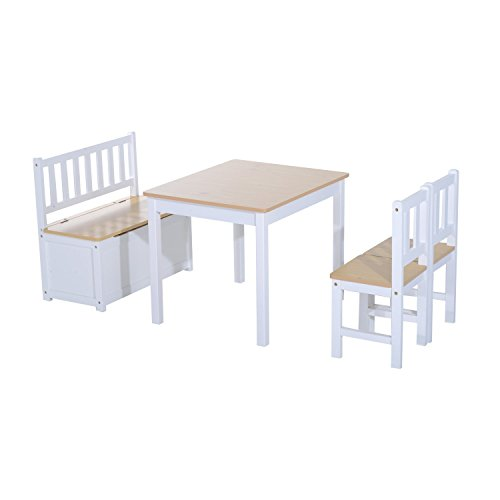 HOMCOM 4-tlg. Kindersitzgruppe 1 x Kindertisch 2 x Kinderstuhl 1 x Kinderbank Kindermöbel Holz