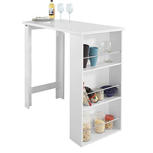 SoBuy FWT17-W Bartisch Beistelltisch Stehtisch Küchentheke Küchenbartisch mit 3 Regalfächern Tresen weiß BHT: 112x106,5x57cm
