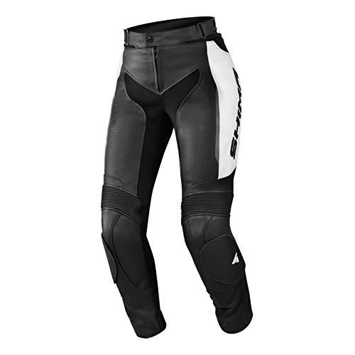 SHIMA MIURA TROUSERS WHITE, Damen Sport Lederhose Motorradbekleidung für Frauen (32-42, Schwarz/Weiss) Größe 40
