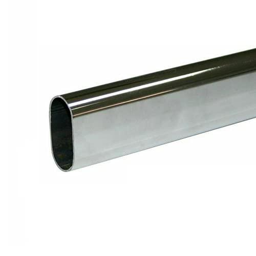 Perin Tubo Appendiabiti per Armadio Guardaroba, Cromato 15x30mm - Kit con Supporti Laterali Nichel (3 Metri)