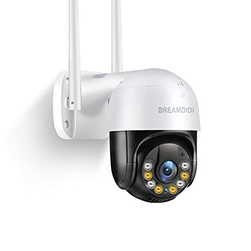 DREAMDIDI Telecamera WiFi Esterno, 3MP FHD Telecamera di Sicurezza, IP Videocamera di Sorveglianza con 355° Visione Notturna a Colori 20m, Activity Alert, Audio Bi-direziona per la sicurezza domestica