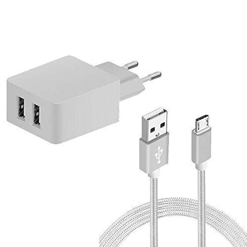 Sweet Tech Caricatore USB da Muro 2 Porte 2.4A Caricabatterie USB Presa + Cavo di Ricarica Micro USB - Bianco per ZTE Blade A5 2020/Blade A7 2020