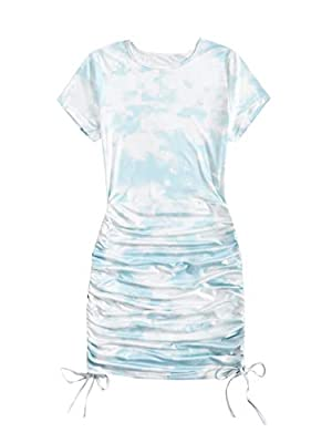 Material: Polyester and Cotton, stretchy and soft Feature: Tie dye, drawstring ruched side, round neck, short sleeve, above knee length dress Occasion: Good choise for party, cocktail, prom, dinner date, vacation, nightout and club Style: This dress ...