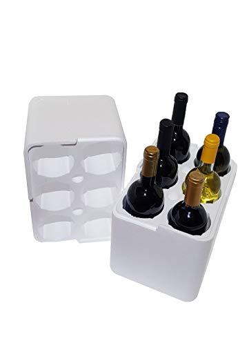 Toscoespansi Scatola + Contenitore in Polistirolo per spedizione 6 Bottiglie Vino e Olio