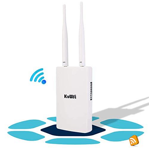 KuWFi 4G Router LTE, 150Mbps CAT4 3G 4G LTE Router con Slot per schede SIM Funziona con Telecamera IP o Copertura WiFi Esterna con Antenna 2pcs Funziona con 3 (Tre) / Tim/Wind/Vodafone SIM Card