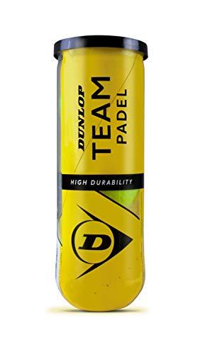Dunlop TB Team Padel - Palline per Adulti, Unisex, Colore: Giallo, 3 Pezzi