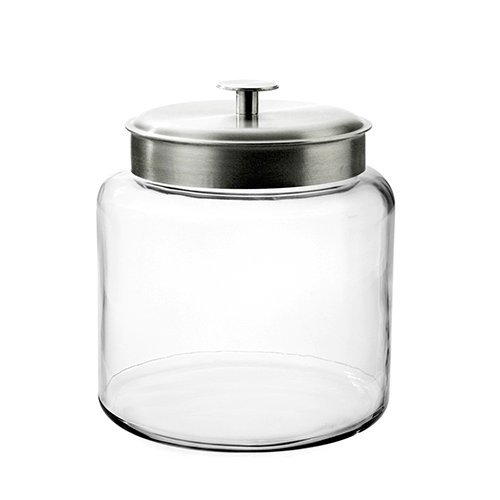 Anchor Hocking 1.5-Gallon Montana Glass Jar with Fresh Seal Lid, Brushed Metal, Set of 1