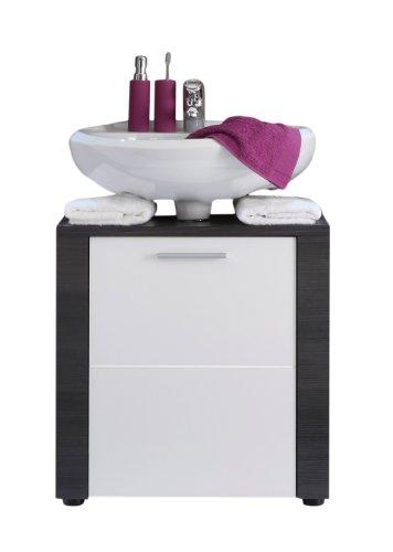 trendteam smart living Badezimmer Waschbeckenunterschrank Unterschrank Xpress, 60 x 62 x 35 cm in Korpus und Frontblenden Esche grau Nachbildung und Front in weiß mit viel Stauraum