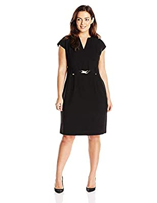 Cap-sleeve shirt dress featuring belted waist with gold-tone hardware accents Split v-neckline Exposed center back zipper