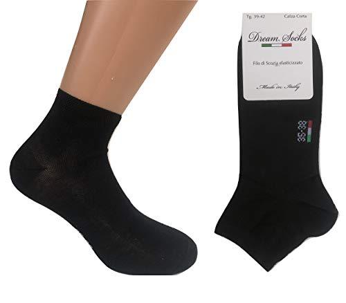 DREAM SOCKS 6 paia calzini corti alla caviglia in cotone filo di scozia elasticizzato,ultra leggero,prodotto MADE IN ITALY,modello unisex, vari assortimenti. (39/42, nero)