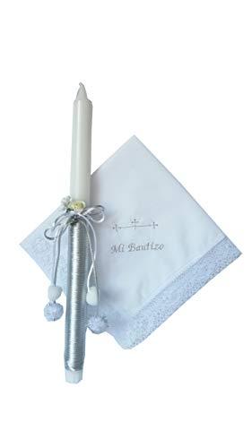 Set bautizo plateado con vela y pañuelo bordado 35 cm.