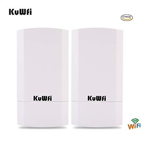 KuWFi Kit CPE outdoor wireless da 300 GB a 2 pacchetti, Bridge/CPE wireless point-to-point per...