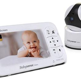 Babysense Video Baby Monitor – 720P HD Infant Monitor with PTZ Security Camera & Large 5″ Display
