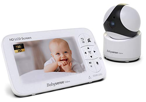 Babysense Video Baby Monitor - 720P HD Infant Monitor with PTZ Security Camera & Large 5' Display  Two-Way Talk-Back Audio, Zoom, Long Range, Night Vision, Secure Hack-Free Baby Monitor Camera