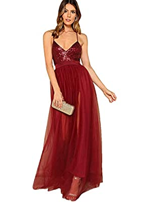 Material:97% Polyster, 3 Spandex. The material is very soft and smooth Plunge neck, sequin, spaghetti strap, side slit, maxi evening gown. Sexy, formal, vintage.Great for party, cocktail, wedding, club, homecoming, prom. Hand wash recommended. Please...