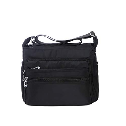 31S AQ+fDAL Size: Large size:12.2 x 4.3 x 9.4inch ;Small size:10.2 x 3.5 x 8.6inch (L x W x H),.Lightweight crossbody bags for women travel and everyday use. Tips:If you receive the linen shoulder strap, don't worry! The shoulder strap has been upgraded according to customers feedback. The upgraded shoulder strap is made of linen and it is not easy to slip. Now the linen shoulder strap is replacing the nylon shoulder strap slowly. Material:Made of Polyester lining lightweight water resistant nylon oxford with classic zippers, smooth and easy to open and close. Multifunctional Structure:Exterior:2 side pockets,3 front zipped pockets,1 back zipper pocket;Interior:2 zipper pocket and two open pocket.This bag fit in quite a bit of paperwork loose items (cords, phone, planners, pens),the number of pockets make it easy to compartmentalize things you need to access quickly and readily without pulling everything out to get at it.