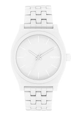 NIXON Time Teller A045 - All White Stainless Steel - Analog Fashion Watch (37mm Watch Face, 19.5mm-18mm Stainless Steel Band)