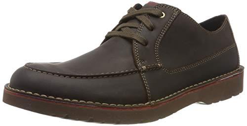Clarks Vargo Vibe, Zapatos de Cordones Derby Hombre, Marrón Oscuro Lea Dark Brown Lea, 45 EU