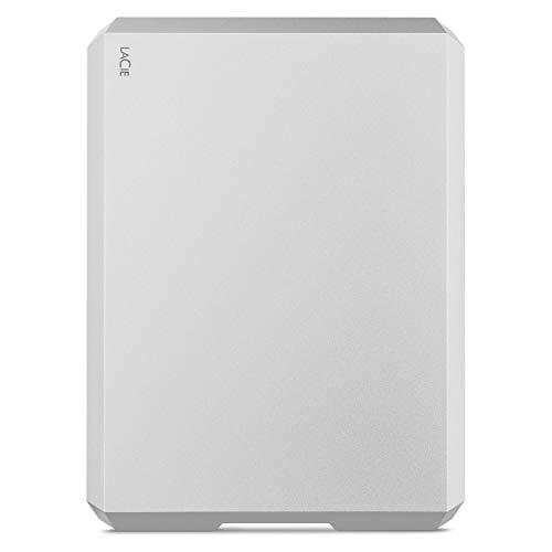 LaCie Mobile Drive, 1TB, Disco duro externo HDD portátil, plata, USB-C, USB 3.0, Thunderbolt 3, para Mac, PC, ordenador de sobremesa, estación de trabajo y ordenador portátil (STHG1000400)