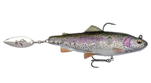 Savage Gear - 4D Trout Spin Shad, pesce di gomma con spinner, per pesca a spinning di luccio, lucioperca e pesce persico. Esche in gomma, esche per lucci, Rainbow Trout, 11cm / 40g / moderat sinkend