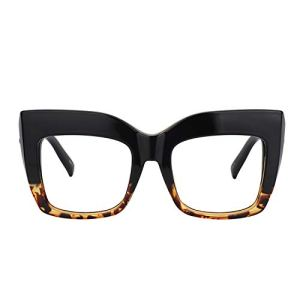 Zeelool Vintage Oversized Thick Cat Eye Glasses for Women with Non-prescription Clear Lens Alberta FP0668