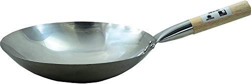JADE TEMPLE Wok en Acero al Carbono con Base Redonda de 35 cm de diámetro y Mango de Madera, Metal, Gris