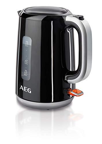 AEG EWA 3300 Wasserkocher (2200 Watt, 1,7 l, entnehmbarer Kalkfilter, Wasserstandsanzeige mit Liter-/Tassenangabe, Sicherheitsabschaltung, Ein/Aus-Schalter, Einhand-Deckelöffnung) schwarz