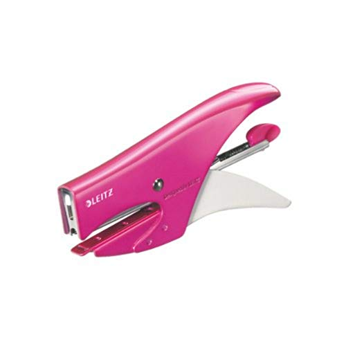 Leitz Cucitrice a Pinza, Capacit fino a 15 Fogli, Design Ergonomico in Metallo, Include Punti, Gamma WOW, Blister, Rosa