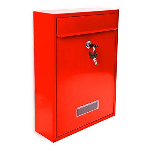 Design Briefkasten Metall Rot 26,5 x 35 x 8,5 cm