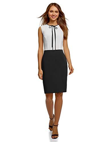 oodji Ultra Mujer Vestido Combinado con Lazos, Blanco, ES 36