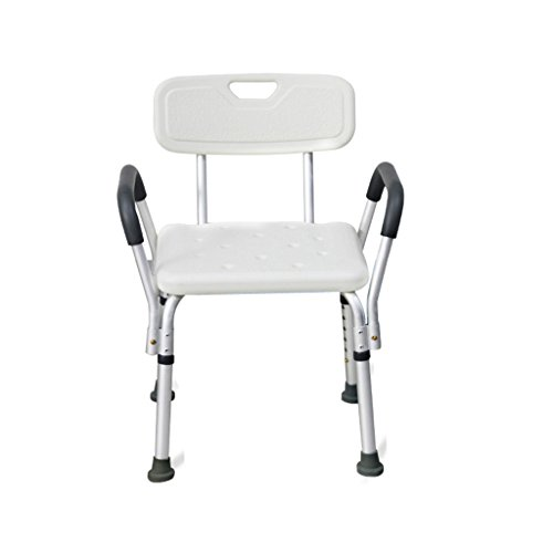 NYDZDM Bathroom Bath Shower Safety Seat Stool Heavy Duty Elderly Pregnant Women Bathing Chair with Armrests and Back,Aluminum Anti-Skid Bath Chair Height Adjustable