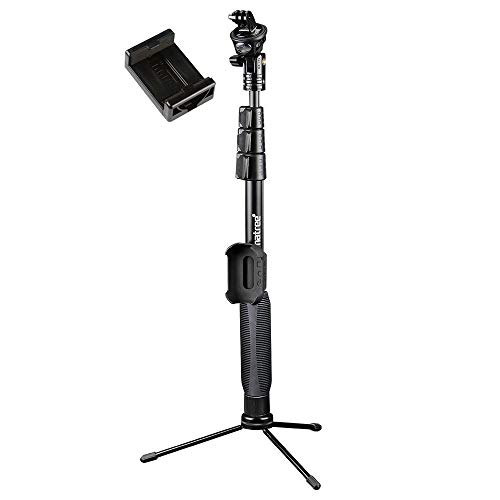 Smatree Y2 Telescoping Pole with Tripod Stand Compatible with GoPro Hero(2018)Fusion/9/8/7/6/5/4/3/Session/DJI OSMO Action Cameras/AKASO/SJCAM/SJ4000/XiaomiYi Cellphone(Remote Controller NOT Included)