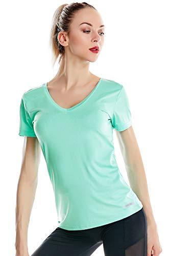 Zengjo Women's Running Top Short Sleeve Moisture Wicking V Neck Running T Shirt Women(XS,Mint Heather)